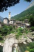 Mountain village of Vogorno in the Valley of Verzasca, Ticino, Switzerland