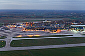 Aerial shot of Hanover/Langenhagen International Airport in the evening, Hanover, Lower Saxony, Germany