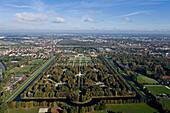 Aerial shot of of the Great Garden, Herrenhausen Gardens, Hanover, Lower Saxony, Germany