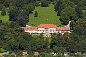 Aerial shot of the Wilhelm-Busch-Museum, Georgengarten, Herrenhausen Gardens, Hanover, Lower Saxony, Germany
