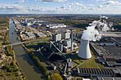 Aerial shot of power station and VW plant at Mittellandkanal (midland chanal), Hanover, Lower Saxony, Germany