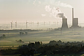 Aerial shot of coal-fired power plant and and wind turbines, Mehrum, Lower Saxony, Germany