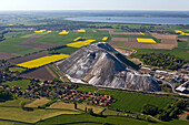 aerial view of potash heap Wunstorf, rapeseed fields, Hanover, Lower Saxony, northern germany