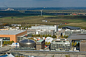 aerial view, trade fair grounds in Hanover Laatzen in Hanover, Lower Saxony, northern Germany