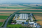 aerial view of the DHL depot of the German Post, Pattensen, Lower Saxony, northern Germany