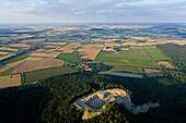 aerial view of villages, Calenberger Land, Wülfinghausen convent in region Hanover, Lower Saxony, Germany