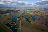 aerial view above Lower Saxony, northern Germany