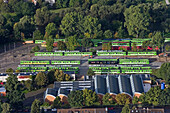 aerial view of the Üstra depot, city railway, Glocksee, Hanover, Lower Saxony, northern Germany
