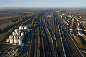 Aerial shot of track system with freight trains, Seelze, Lower Saxony, Germany
