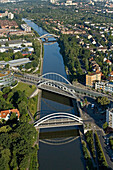 aerial view of road bridges over Mittelland Canal, Midland Canal, in Hanover, Lower Saxony, northern Germany
