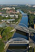 Bridges over Mittellandkanal (midland canal), Hanover, Lower Saxony, Germany