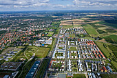 Aerial shot of a housing area of Hanover, Lower Saxony, Germany