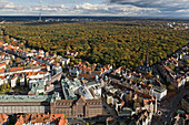 aerial view of Eilenriede city forest and the List and Oststadt neighbourhoods, Bahlsen biscuit buildingHanover, Lower Saxony, Germany