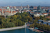 aerial panorama of Hanover city centre and New Town Hall, Maschsee Lake and Sprengel Museum, Lower Saxony Germany