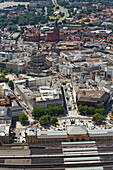 View over Hanover with central station and Marktkirche, Lower Saxony, Germany