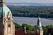 New Town Hall with Maschsee lake in background, Hanover, Lower Saxony, Germany