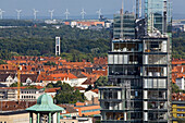 Luftbild, Hannover, Niedersachsen, City, Nord, LB, Kirchturm, Aegidienkirche, Südstadt, Windräder, Stadtansicht