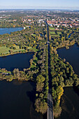 aerial view of the Südschnellweg a causeway across the Rickling ponds, Hanover, Lower Saxony, northern Germany