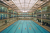 Swimming pool Piscine Pontoise, architect Lucien Pollet, 1930s Art Deco, in the Kieslowski film Bleu, 5e Arrondissement, Paris, France