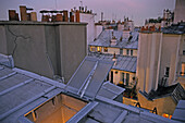 Above the rooftops of Paris in the evening light, romantic, chimneys, Paris, France
