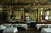 Interior view of the deserted restaurant Le Grand Vefour, 1. Arrondissement, Paris, France, Europe