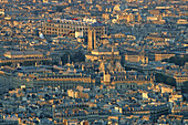 View of roofs of Paris in the evening sun, Paris, France, Europe