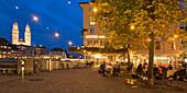 Switzerland, Zurich, old town center, Grossmunster,  Hotel Storchen street Cafe