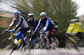 Cyclists on Country Road, Near Arta, Mallorca, Balearic Islands, Spain