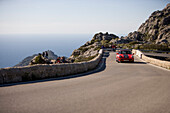 Porsche 911 on Bowtie Curve of Sa Calobra Mountain Road, Rally Classico Isla Mallorca, near Cala de Sa Calobra, Mallorca, Balearic Islands, Spain