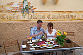 Couple Enjoying Dinner at Soultapas Tapasbar and Restaurant, Sineu, Mallorca, Balearic Islands, Spain