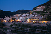 Quaint Village of Banyalbufar at Dusk, Banyalbufar, Mallorca, Balearic Islands, Spain