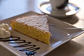 Delicious Almond Cake at Cafe es Trast, Banyalbufar, Mallorca, Balearic Islands, Spain