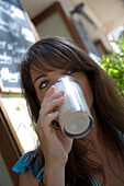 Julia Enjoying Cafe Latte at Cafe Soller, Soller, Mallorca, Balearic Islands, Spain