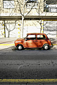 Aged, Auto, Automobile, Automobiles, Autos, Car, Cars, Cities, City, Color, Colour, Daytime, Exterior, Lone, Mini, Minis, Nobody, Old, Old fashioned, Old-fashioned, One, Outdoor, Outdoors, Outside, Parked, Parking, Profile, Profiles, Solitary, Street, Str