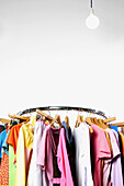 Arrangement, Bar, Bars, Closet, Closets, Clothes, Color, Colour, Concept, Concepts, Detail, Details, Fashion, Feminine, Garment, Hang, Hanger, Hangers, Hanging, Illuminated, Illumination, Indoor, Indoors, Inside, Interior, Light, Light bulb, Light bulbs,