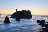 Rialto Beach in Olympic Seashore. Olympic National Park. Washington