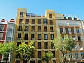 Façades in Goya Street, Madrid. Spain