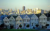 Victorian Houses and city. Alamo Square. San Francisco. California. USA