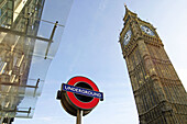 Big Ben and underground sign. London. England