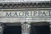 Detail of the inscription on the cornice of the Pantheon. Piazza della Rotonda. Rome. Italy
