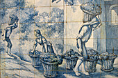 Grape harvest. Typical painted tiles. The old Blandy wine lodge. Funchal. Madeira. Portugal.