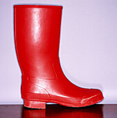 Boot, Boots, Close up, Close-up, Closeup, Color, Colour, Concept, Concepts, Detail, Details, Footgear, Footwear, Galosh, Galoshes, Indoor, Indoors, Inside, Interior, Object, Objects, One, One item, Rain, Rainboot, Red, Rubber boot, Rubber boots, Square, S