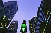 Green traffic light on Park Avenue. New York City, USA