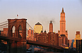 Brooklyn Bridge and Lower Manhattan skyline, New York City. USA
