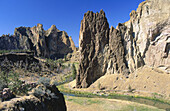 Smith Rock State Park, Oregon, USA a world famous rock climbing paradise right out of the parking lot.