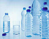 Bottled water in plastic containers