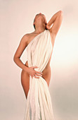 Adult, Adults, Bare, Body, Color, Colour, Contemporary, Cover, Covering, Fabric, Female, Feminine, Human, Indoor, Indoors, Interior, Knees-up, Naked, Nude, Nudes, Nudity, One, One person, People, Person, Persons, Posture, Postures, Provocative, Single per