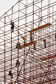 Arbeiten, Arbeitend, Arbeitende, Arbeiter, Aussen, Bau, Baugerüst, Baugerüste, Draussen, Erwachsene, Erwachsener, Farbe, Ganzkörper, Ganzkörperaufnahme, Gerüst, Gerüste, Höhe, Konstruktion, Mensch, Menschen, Riskant, Struktur, Tageszeit, L88-544508, agefo