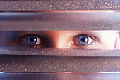 Blue eyed, Blue eyes, Blue-eyed, Color, Colour, Concept, Concepts, Curiosity, Curious, Discoveries, Discovery, Drop, Droplet, Droplets, Drops, Enigma, Enigmas, Eye, Eyes, Female, Feminine, Glimpse, Glimpses, Human, Iron gate, Iron gates, Look, Looking, Lo