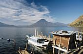 Atitlan lake, Santa Cruz and San Pedro Volcanoes, Guatemala.